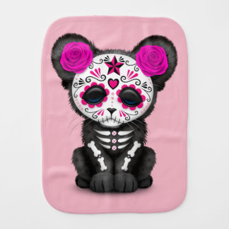 Pink Day of the Dead Black Panther Cub Burp Cloth