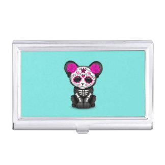 Pink Day of the Dead Black Panther Cub Business Card Holder