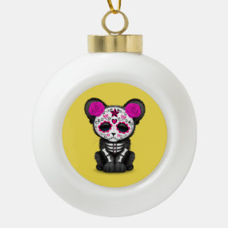 Pink Day of the Dead Black Panther Cub Ceramic Ball Christmas Ornament