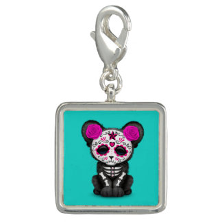 Pink Day of the Dead Black Panther Cub Charm