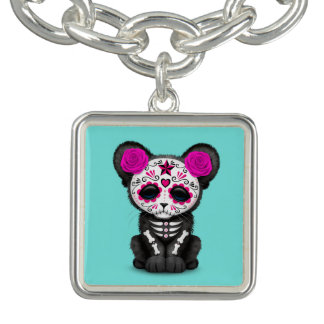 Pink Day of the Dead Black Panther Cub Charm Bracelet