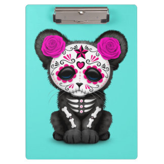 Pink Day of the Dead Black Panther Cub Clipboard