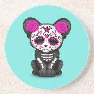 Pink Day of the Dead Black Panther Cub Coaster
