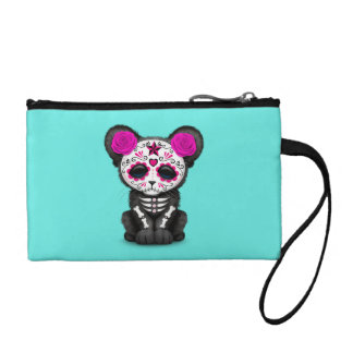 Pink Day of the Dead Black Panther Cub Coin Purse