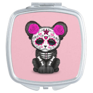 Pink Day of the Dead Black Panther Cub Compact Mirror