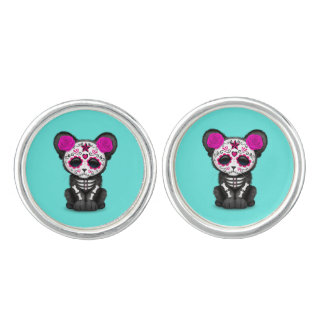 Pink Day of the Dead Black Panther Cub Cufflinks