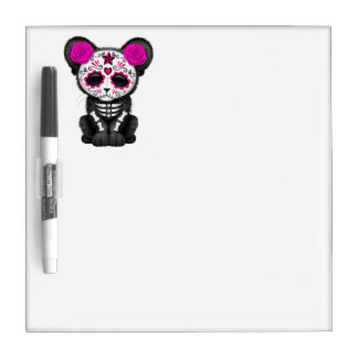Pink Day of the Dead Black Panther Cub Dry Erase Board