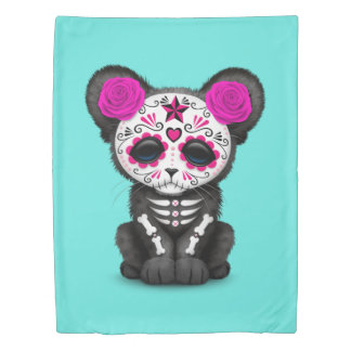 Pink Day of the Dead Black Panther Cub Duvet Cover