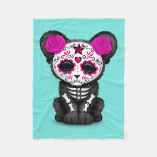 Pink Day of the Dead Black Panther Cub Fleece Blanket