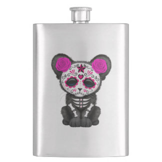 Pink Day of the Dead Black Panther Cub Hip Flask
