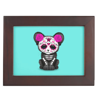Pink Day of the Dead Black Panther Cub Keepsake Box