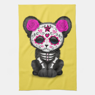 Pink Day of the Dead Black Panther Cub Kitchen Towel