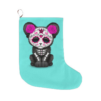 Pink Day of the Dead Black Panther Cub Large Christmas Stocking