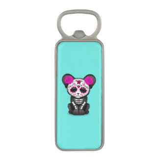 Pink Day of the Dead Black Panther Cub Magnetic Bottle Opener