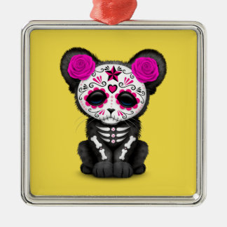 Pink Day of the Dead Black Panther Cub Metal Ornament