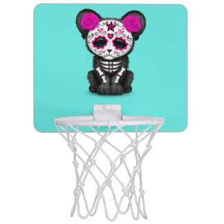 Pink Day of the Dead Black Panther Cub Mini Basketball Hoop