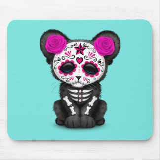Pink Day of the Dead Black Panther Cub Mouse Pad