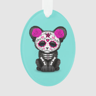 Pink Day of the Dead Black Panther Cub Ornament