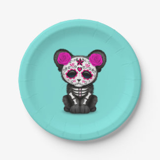 Pink Day of the Dead Black Panther Cub Paper Plate