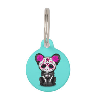 Pink Day of the Dead Black Panther Cub Pet ID Tag