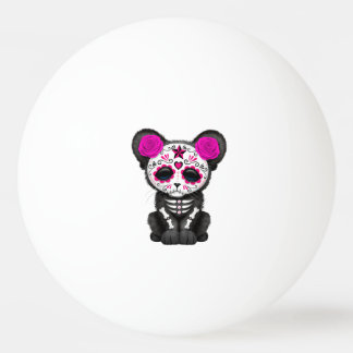 Pink Day of the Dead Black Panther Cub Ping Pong Ball