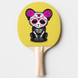 Pink Day of the Dead Black Panther Cub Ping Pong Paddle