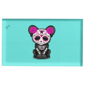 Pink Day of the Dead Black Panther Cub Place Card Holder
