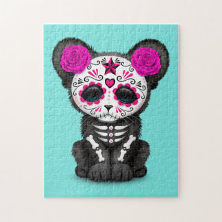 Pink Day of the Dead Black Panther Cub Puzzle