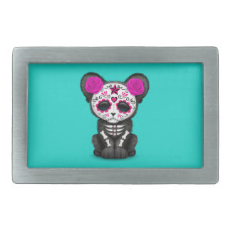 Pink Day of the Dead Black Panther Cub Rectangular Belt Buckle