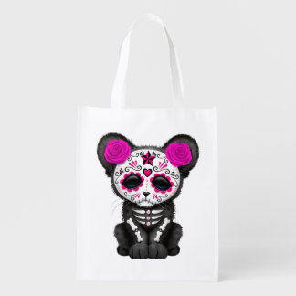 Pink Day of the Dead Black Panther Cub Reusable Grocery Bag