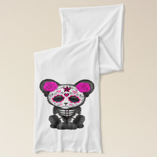 Pink Day of the Dead Black Panther Cub Scarf