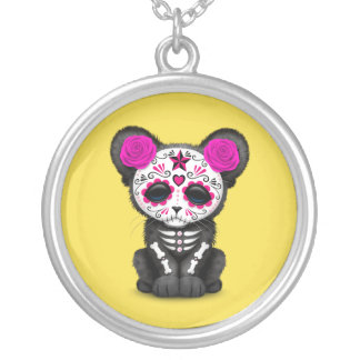 Pink Day of the Dead Black Panther Cub Silver Plated Necklace