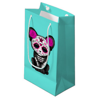 Pink Day of the Dead Black Panther Cub Small Gift Bag