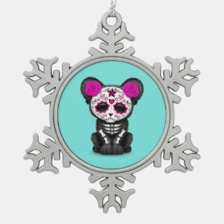 Pink Day of the Dead Black Panther Cub Snowflake Pewter Christmas Ornament