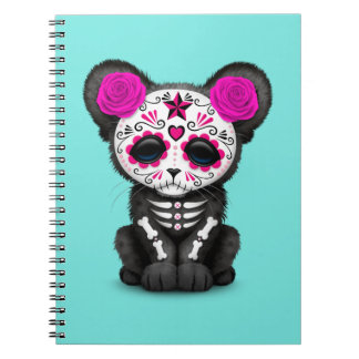 Pink Day of the Dead Black Panther Cub Spiral Notebook