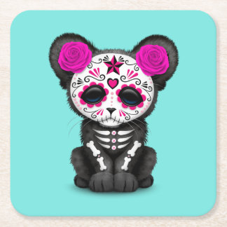 Pink Day of the Dead Black Panther Cub Square Paper Coaster