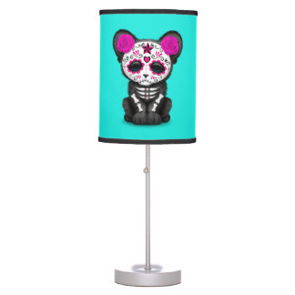 Pink Day of the Dead Black Panther Cub Table Lamp
