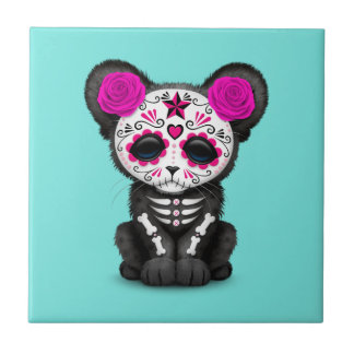Pink Day of the Dead Black Panther Cub Tile