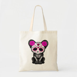 Pink Day of the Dead Black Panther Cub Tote Bag