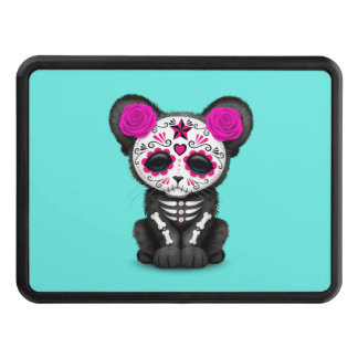 Pink Day of the Dead Black Panther Cub Trailer Hitch Cover