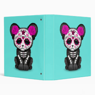 Pink Day of the Dead Black Panther Cub Vinyl Binders