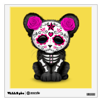 Pink Day of the Dead Black Panther Cub Wall Decal