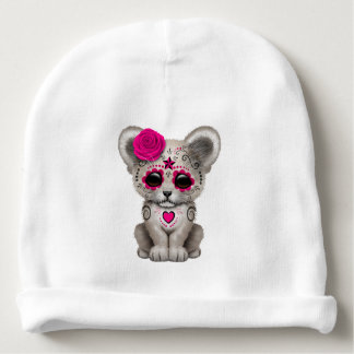 Pink Day of the Dead Lion Cub Baby Beanie