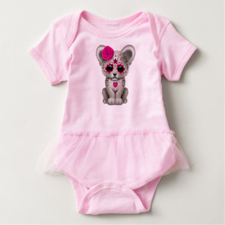Pink Day of the Dead Lion Cub Baby Bodysuit