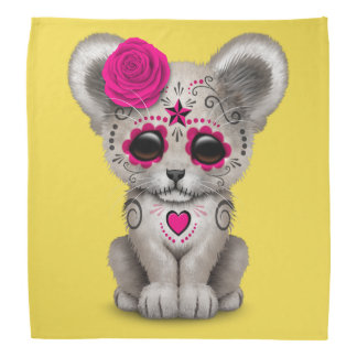 Pink Day of the Dead Lion Cub Bandana