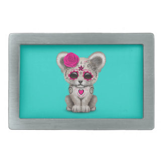 Pink Day of the Dead Lion Cub Belt Buckle