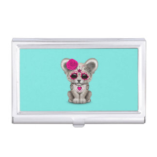 Pink Day of the Dead Lion Cub Business Card Holder