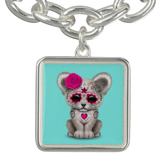 Pink Day of the Dead Lion Cub Charm Bracelets
