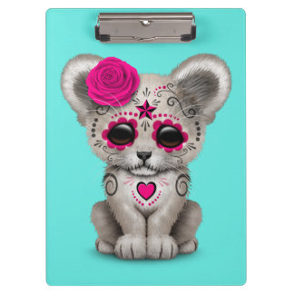 Pink Day of the Dead Lion Cub Clipboard