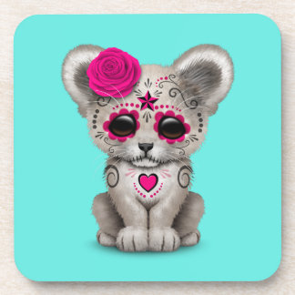 Pink Day of the Dead Lion Cub Coaster